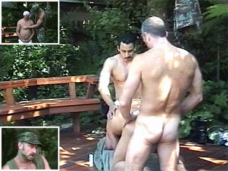 012 Aged military dudes having enjoyment outdoors