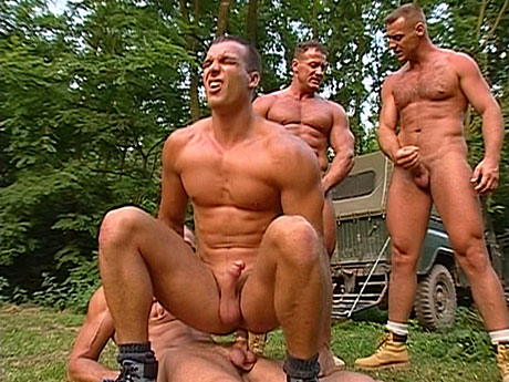 Gay Muscle Men : twink forced to fuck 3 hard fellas!